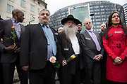 Thousands of people including police officers and Muslim faith leaders gathered on Westminster Bridge to hold a vigil and a minutes silence one week after the terror attack, on March 29th 2017 in London, United Kingdom. Faith leaders from multiple faiths.