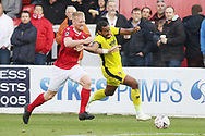 Kenny Clark and Tyrone Barnett  during the The FA Cup 1st round match between Ebbsfleet and Cheltenham Town at Stonebridge Road, Ebsfleet, United Kingdom on 10 November 2018.