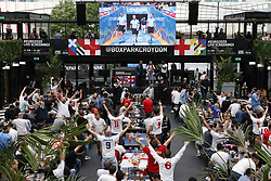 © Licensed to London News Pictures. 29/06/2021. London, UK. Supporters react to the the EURO 2020 round of 16 game between England and Germany seen on a large TV screen at Boxpark Croydon in south London. Photo credit: Peter Macdiarmid/LNP