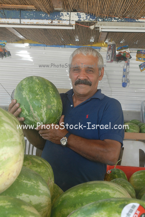 Stall selling fresh watermelons a stack of watermelons on display Seller proudly presenting a sample