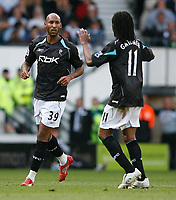 Photo: Steve Bond.<br /> Derby County v Bolton Wanderers. The FA Barclays Premiership. 29/09/2007. Low key celebration for Nicolas Anelka (L). Ricardo Gardner (R) joins in