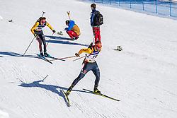 28.02.2021, Obertilliach, AUT, IBU Jugend und Junioren WM, Obertilliach, Einzel 15 km Junioren, im Bild v.l. Goldmedaillen Gewinner und Weltmeister 2021 Philipp Lipowitz (GER), Danilo Riethmueller (GER) // f.l. Gold medal winners and world champions 2021 Philipp Lipowitz of Germany Danilo Riethmueller of Germany during the juniors male 15 km individual competition of IBU Biathlon Youth and Junior World Championships in Obertilliach, Austria on 2021/02/28. EXPA Pictures © 2021, PhotoCredit: EXPA/ Lukas Huter