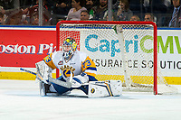 KELOWNA, BC - DECEMBER 01: Nolan Maier #73 of the Saskatoon Blades stretches in net against the Kelowna Rockets at Prospera Place on December 1, 2018 in Kelowna, Canada. (Photo by Marissa Baecker/Getty Images)
