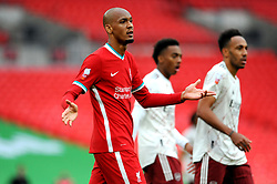 Fabinho of Liverpool shows a look of frustration - Mandatory by-line: Nizaam Jones/JMP - 29/08/2020 - FOOTBALL - Wembley Stadium - London, England - Arsenal v Liverpool - FA Community Shield