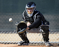 GLENDALE, ARIZONA - FEBRUARY 20:  James McCann #33 of the Chicago White Sox catches during spring training workouts on February 20, 2019 at Camelback Ranch in Glendale Arizona.  (Photo by Ron Vesely). Subject:   James McCann