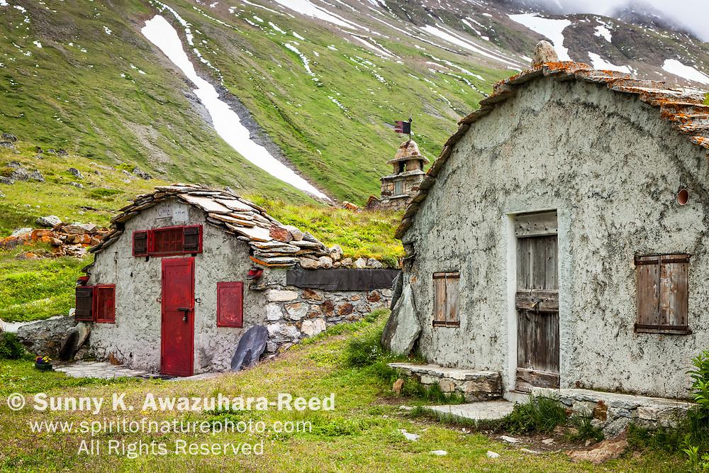 Old ruins at Val Veni, Alps, Italy, Europe, Summer.