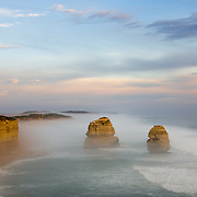 Gibsons Beach and 12 Apostles surrounded by mist