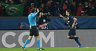 Paris Saint-Germain Edinson Cavani celebrates his goalduring the Champions League match between Paris Saint-Germain and Chelsea at Parc des Princes, Paris, France on 17 February 2015. Photo by Phil Duncan.