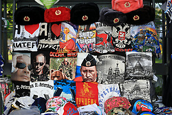 16th June 2017 - FIFA Confederations Cup - T-shirts bearing the face of Russian President Vladimir Putin are amongst those for sale on a stall in Saint Petersburg - Photo: Simon Stacpoole / Offside.
