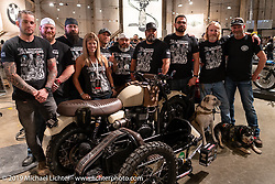 Krystal Hess with a new custom bike from Motorcycle Missions at the Handbuilt Show. Austin, TX. USA. Saturday April 21, 2018. Photography ©2018 Michael Lichter.