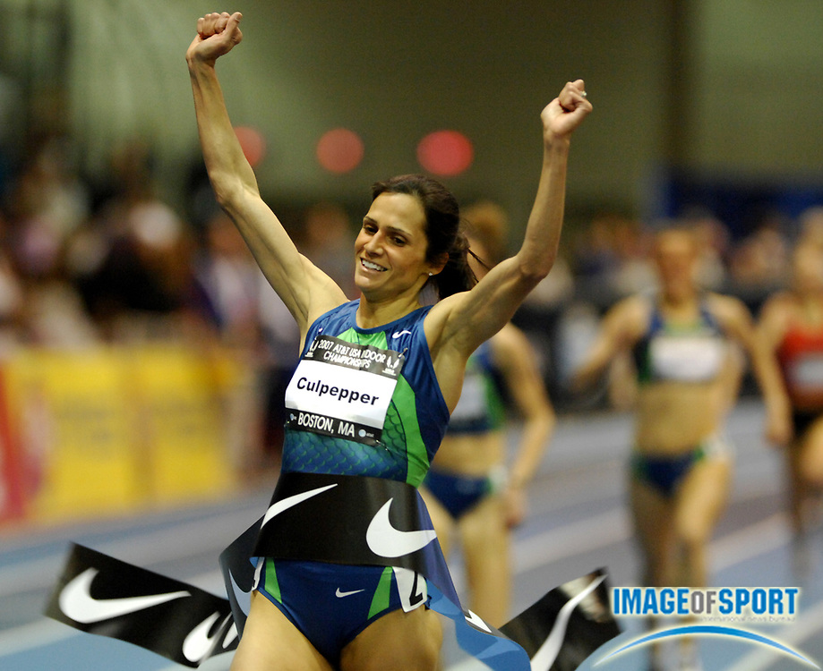 Feb 24, 2007; Boston, MA, USA; Shayne Culpepper celebrates as she breaks the finish tape to win the women's mile in 4:34.42 in the USA Track & Field Indoor Championships at the Reggie Lewis Center at Roxbury Community College. Photo by Image of Sport