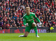 13.04.2014  Liverpool, England.  City Keeper Joe Hart celebrates David Silva's goal during the Barclays Premier League game between Liverpool and Manchester City from Anfield