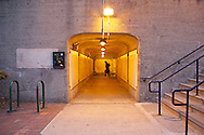 A commuter off a train from New York, passes through the West portal.