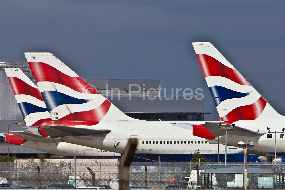 British Airways planes lined up at London's Heathrow Airport.