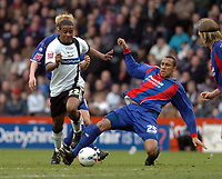 Photo: Leigh Quinnell.<br /> Derby County v Crystal Palace. Coca Cola Championship. 25/03/2006. Derbys Kevin Lisbie fights off a challenge by Crystal Palaces Fitz Hall.