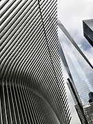 Low angle view of The Oculus and the Freedom Tower, New York City