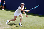 Jana Cepelova of Slovakia plays a backhand during the Fuzion 100 Ilkley Lawn Tennis Trophy Tournament held at Ilkley Lawn Tennis and Squad Club, Ilkley, United Kingdom on 19 June 2019.
