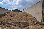 Israel, Galilee, Kibbutz Harduf, The dairy cowshed, silage storage silo