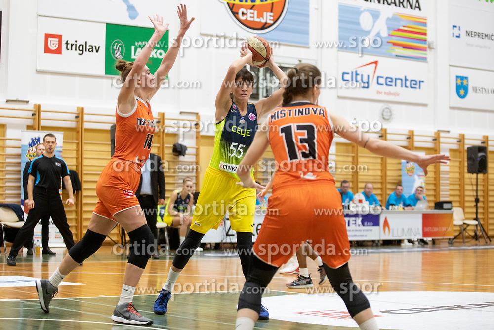 Ana Radovic of ZKK Cinkarna Celje in action during basketball match between ZKK Cinkarna Celje (SLO) and MBK Ruzomberok (SVK) in Round #6 of Women EuroCup 2018/19, on December 13, 2018 in Gimnazija Celje Center, Celje, Slovenia. Photo by Urban Urbanc / Sportida