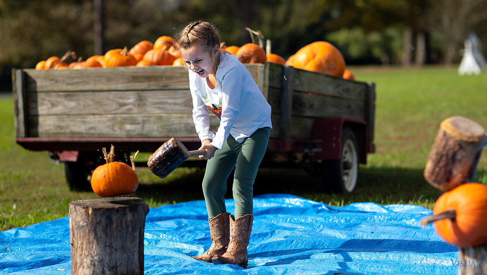 Henleigh Bullard,6, of Liberty, NC.<br /> <br /> Quaker Lake Camp in Climax, N.C., held the tenth annual Pumpkin Festival on Saturday, October 20. Over 1,800 people attended this year's festival. It takes more than 200 volunteers to provide inflatables, carnival games, face painting, hayrides, pumpkin smashing, and food options, including funnel cakes and fried Oreos.<br /> <br /> This outreach event allows the community to visit the camp property and see its facilities. Profits from the event support Quaker Lake Camp programming. Th Camp's main program is a Christian-based residential summer camp.<br /> <br /> Quaker Lake Pumpkin Festival 2018. Photos may not be printed or published without permission.<br /> <br /> Quaker Lake Camp, Climax, NC<br /> <br /> Documented Saturday October 20, 2018.<br /> <br /> Copyright 2018 <br /> <br /> JERRY WOLFORD  / Perfecta Visuals