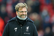 Liverpool Manager Jurgen Klopp looks on. Premier League match, Liverpool v Leicester City at the Anfield stadium in Liverpool, Merseyside on Saturday 30th December 2017.<br /> pic by Chris Stading, Andrew Orchard sports photography.
