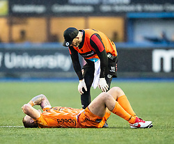 Ross Moriarty of Dragons receives medical attention<br /> <br /> Photographer Simon King/Replay Images<br /> <br /> Guinness PRO14 Round 9 - Cardiff Blues v Dragons - Thursday 26th December 2019 - Cardiff Arms Park - Cardiff<br /> <br /> World Copyright © Replay Images . All rights reserved. info@replayimages.co.uk - http://replayimages.co.uk