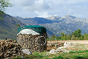 Circular stack of firewood, covered and ready for winter. Biokovo mountains in background. Rascane, Croatia