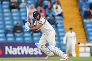 Jack Leaning of Yorkshire plays an attacking shot during the opening day of the Specsavers County Champ Div 1 match between Yorkshire County Cricket Club and Hampshire County Cricket Club at Headingley Stadium, Headingley, United Kingdom on 27 May 2019.