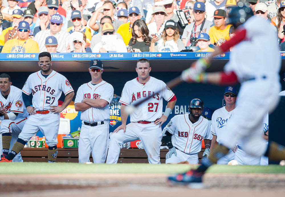 The American League bench, including Mike Trout, watch as Xander Bogarts doubles in the third inning during their 4-2 victory over the National League during the 2016 MLB All-Star Game at Petco Park in San Diego on Tuesday.<br /> <br /> ///ADDITIONAL INFO:   <br /> <br /> allstar.0713.kjs  ---  Photo by KEVIN SULLIVAN / Orange County Register  -- 7/12/16<br /> <br /> The 2016 MLB All-Star Game at Petco Park in San Diego.