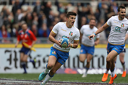 March 17, 2018 - Rome, RM, Italy - Tommaso Allan of Italy mark the first point during the Six Nations 2018 match between Italy and Scotland at Olympic Stadium on March 17, 2018 in Rome, Italy. (Credit Image: © Danilo Di Giovanni/NurPhoto via ZUMA Press)