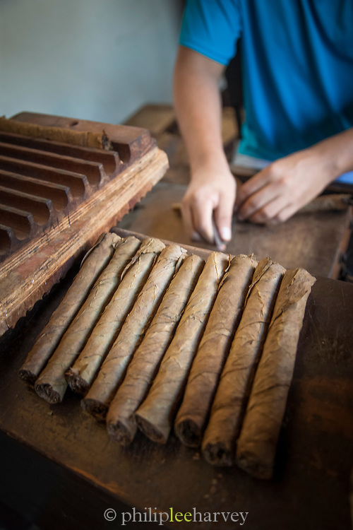 Close-up of the hands of a man working on making cigars, Mombacho Cigars, Granada, Nicaragua