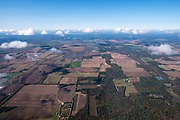 Image from a flight over Waushara County, Wisconsin on a beautiful autumn day, with the Wisconsin River in the background.