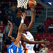 Galatasaray's Sylvia FOWLES (R) during their woman Euroleague group C matchday 9 Galatasaray between Halcon Avenida at the Abdi Ipekci Arena in Istanbul at Turkey on Wednesday, January 12 2011. Photo by TURKPIX