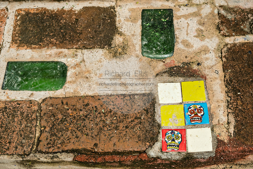 Tile detail on a stair at the Chapel of Jimmy Ray by American artist Anado McLauchlin in his compound Casa las Ranas September 28, 2017 in La Cieneguita, Mexico.