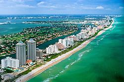 aerial view of Miami Beach, Bal Harbour and Intracoastal Waterway, Florida , USA, Caribbean Sea, Atlantic Ocean