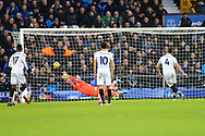 Luka Milivojevic of Crystal Palace scores his teams 1st goal from the penalty spot. Premier league match, Everton v Crystal Palace at Goodison Park in Liverpool, Merseyside on Saturday 10th February 2018. pic by Chris Stading, Andrew Orchard sports photography.