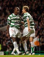 Photo: Jed Wee.<br /> Celtic v Glasgow Rangers. Scottish CIS Insurance Cup. <br /> 09/11/2005.<br /> <br /> Celtic's Bobo Balde (L) celebrates.