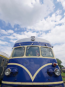 """Strasshof, Austria.<br /> Triebwagentage (railcar days) at Das Heizhaus - Eisenbahnmuseum Strasshof, Lower Austria's newly designated competence center for railway museum activities.<br /> ÖBB 4145 """"Blauer Blitz (Blue Lightning)"""", 1952-1962, running until 1997."""