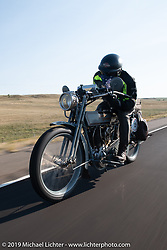 Steve Decosa riding his 1915 Harley-Davidson 11F on the Motorcycle Cannonball coast to coast vintage run. Stage 9 (294 miles) from Pierre to Sturgis, SD. Sunday September 16, 2018. Photography ©2018 Michael Lichter.