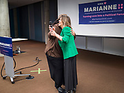 21 NOVEMBER 2019 - DES MOINES, IOWA: MARIANNE WILLIAMSON hugs a supporter during a campaign appearance at the Central Public Library in Des Moines. Williamson, an author, activist, and spiritual leader, is running to be the Democratic nominee for the US Presidency in the 2020 election.  Iowa hosts the first presidential selection event of the 2020 election cycle. The Iowa caucuses are on February 3, 2020.                  PHOTO BY JACK KURTZ