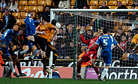 Photo: Ed Godden/Sportsbeat Images.<br />Wolverhampton Wanderers v Oldham Athletic. The FA Cup. 06/01/2007. Oldham's Chris Hall (2nd left) scores the late equaliser to make it 2-2.