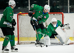 Ales Kranjc of SZ Olimpija and Tilen Spreitzer of SZ Olimpija during ice hockey match between HK SZ Olimpija and WSV Sterzing Broncos Weihenstephan (ITA) in Round #12 of AHL - Alps Hockey League 2018/19, on October 30, 2018, in Hala Tivoli, Ljubljana, Slovenia. Photo by Vid Ponikvar / Sportida