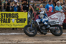 AMA flattracker (no. 195) Roger Hayden on his Yamaha MT-07 racer in the AMA Flat track racing at the Sturgis Buffalo Chip during the Sturgis Black Hills Motorcycle Rally. Sturgis, SD, USA. Sunday, August 4, 2019. Photography ©2019 Michael Lichter.
