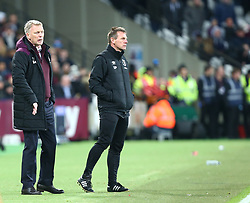 January 16, 2018 - London, England, United Kingdom - L-R West Ham United manager David Moyes  and West Ham United Joint Assistant manager Stuart Pearce .during FA Cup 3rd Round reply match between West Ham United against Shrewsbury Town at The London Stadium, Queen Elizabeth II Olympic Park, London, Britain - 16 Jan  2018  (Credit Image: © Kieran Galvin/NurPhoto via ZUMA Press)