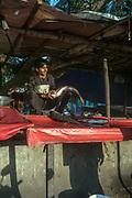A man sells a large fish on a makeshift stall near Nizamuddin East market, New Delhi, India