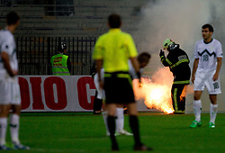 Fireman during football match between National Teams of Slovenia and Serbia of UEFA Euro 2012 Qualifying Round in Group C on October 11, 2011, in Stadium Ljudski vrt, Maribor, Slovenia.  Slovenia defeated Serbia 1-0. (Photo by Vid Ponikvar / Sportida)