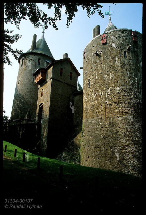 Castell Coch, or Red Castle, built 1875-91 by Wm Burges for Lord Bute, rests on medieval ruins above the Taff Valley; Cardiff, Wales