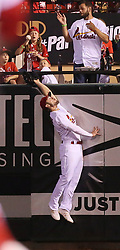 May 12, 2017 - St Louis, MO, USA - St. Louis Cardinals right fielder Randal Grichuk is unable to catch a solo home run by Chicago Cubs' Tommy La Stella in the seventh inning on Friday, May 12, 2017, at Busch Stadium in St. Louis, Mo. (Credit Image: © Chris Lee/TNS via ZUMA Wire)