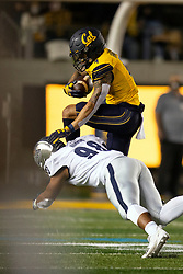California wide receiver Nikko Remigio (4) hurdles Nevada defensive end Sam Hammond (98) during the first quarter of an NCAA college football game, Saturday, Sept. 4, 2021, in Berkeley, Calif. (AP Photo/D. Ross Cameron)