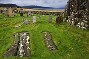 Two 17th century slabs, each 2.00m in length, bearing full-length effigies of a man and woman in Pennygowan Cemetery (Caol Fhaoileann), Salen Isle of Mull, Scotland. This ruined chapel, which served the north portion of the parish of Torosay, is probably of early 13th century date. No medieval references to it have been identified, and its dedication is unknown. The records of the Synod of Argyll in the middle of the 17th century show some uncertainty as to the status of the charge; it is referred to both as a 'Chappell' and as a 'paroach'. Salen (Scottish Gaelic: An t-Sàilean) is a settlement on the Isle of Mull, Scotland. It is on the east coast of the island, on the Sound of Mull, approximately halfway between Craignure and Tobermory.